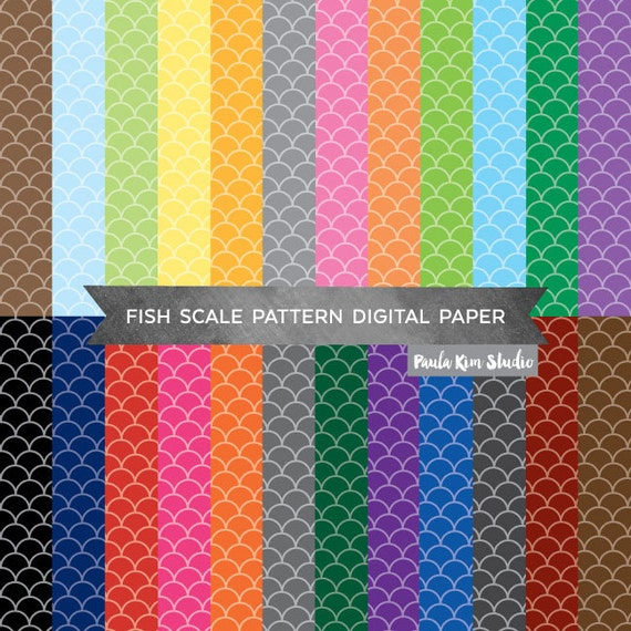 Fish scale pattern digital paper pack scallop background for Best digital fish scale