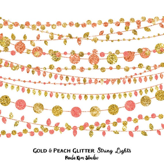 Peach and Gold Party Invitation Clipart Glitter String Lights