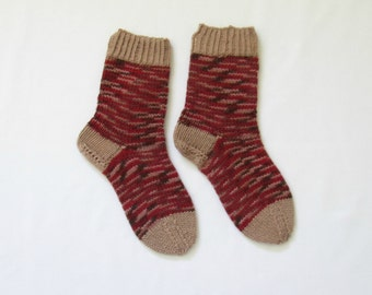 Thick socks knitted (Women's Size US 6 - 7.5, UK 3.5 - 5, Europe 36 - 38) small size 6ply thick