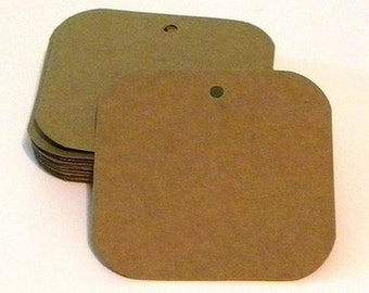 "25 square tags - 3""x3"" paper tags - blank tags - hang tags - cardstock tags - favor tags - rustic tags - kraft tags - brown paper tags"
