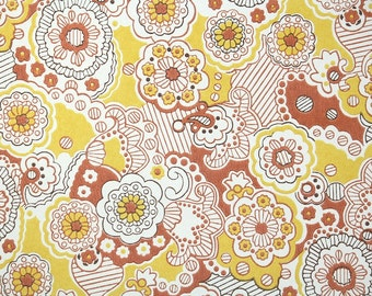 Retro Wallpaper by the Yard 70s Vintage Wallpaper - 1970s Yellow Orange and White Floral Paisley
