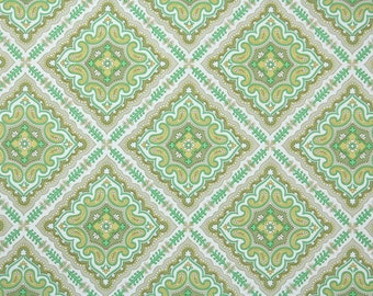 Retro Wallpaper by the Yard 70s Vintage Wallpaper - 1970s Green and Gold Geometric