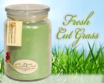 Fresh Cut Grass Soy Candles, Scented Candles, Hand Poured Soy Candles, Grass Candles