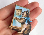 Pussy Cat Blue Ribbon Looking in the Mirror Victorian style Birthday Wooden Brooch pin Kitty Cats Lover