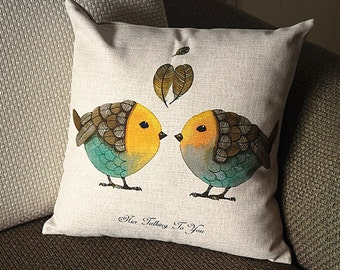 "Designer Linen Pillow -beige yellow green bird and Floral Pillow Cover -18"" 45 cm /22"" 55 cm Decorative Cushion Cover Throw Pillow cover  82"
