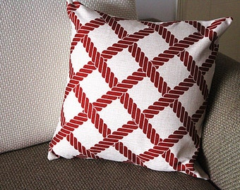 """Linen Pillow - red white diamond geometrical Pillow Cover -18"""" /45 cm Decorative Cushion Cover Throw Pillow cover 96"""