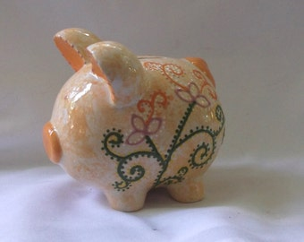 Ceramic Piggy Bank~Girl~ Orange with flowers, dots, and swirls