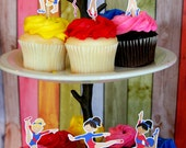 Red, White, Blue Gymnastics Party Cupcake Toppers Set of 12