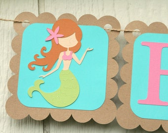 Mermaid Party - Happy Birthday Banner- Mermaids and Shells- Party Decor- Photo Prop- Customizable Colors
