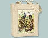 Two Gorgeous Peacocks Vintage Illustration Natural or Black Canvas Tote  - Selection of sizes and personalization available