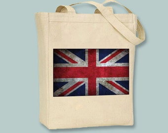 Vintage British Flag Union Jack NATURAL or BLACK Canvas Tote -- Selection of Sizes available