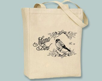 Mama Bird with Ornate Vintage Frame Vintage Collage Canvas Tote - Selection of sizes available, image can be ANY COLOR