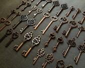 100 Keys to the Kingdom - 100 Antique Copper Skeleton Keys, Wedding Skeleton Keys, Escort Cards, Vintage Key, Old Key, Bulk Skeleton Keys