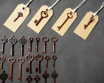 Keys to Happiness - 150 Antique Copper Skeleton Keys & 150 Buff Luggage Tags Wedding Skeleton Keys Wedding Favor Escort Card Rustic Key Set