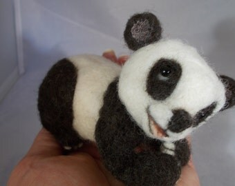 Needle Felted Panda Bear, Panda, Bear, One of a Kind by Grannancan