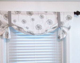 Dandelion Tie Up Lined Valance White/Storm Grey/  Custom Sizing Available!