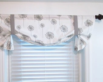 Tie Up Window Valance Dandelion White/Storm Gray Twill Tie Up Curtain  Handmade in the USA