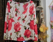 Ivory White Blouse Top with Front Draw String, Adorned with Red Roses and Green Leaves Prints, Vintage - Large