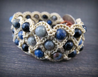 "Boho Cuff Bracelet, Beaded Crochet, ""Blue Jean Bohemian"", multi gemstones, pewter and leather accents"