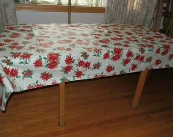 Vintage Christmas Poinsettia Vinyl Tablecloth