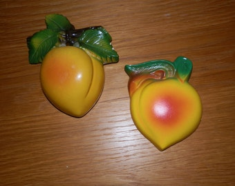Set of Vintage Chalkware Peaches