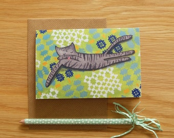 Grey Cat on Welsh Blanket Card