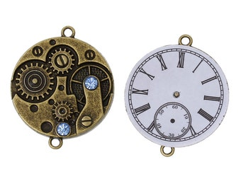 "2 Bronze Steampunk Watch Face Charm Connector Links, Blue Crystal Rhinestones, 1-3/8"" diameter, chb0326"