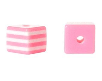 25 BUBBLEGUM PINK 10mm x 9mm Acrylic Cube Beads, Stripes, bulk package, bac0306a