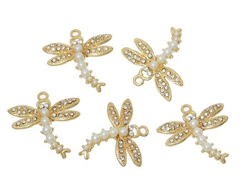 """2 Gold DRAGONFLY Charm Pendants, faux pearls and crystals, 1"""" long, chg0271"""