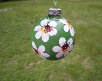 ladybug and daisy Christmas ornament hand painted lb87