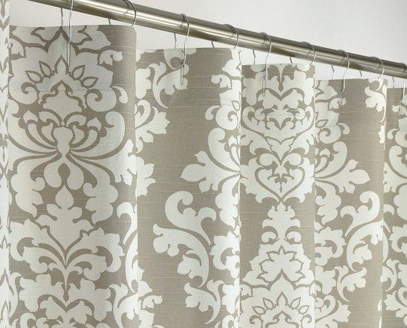 Taupe damask shower curtain extra long 72 wide x 72 by for Beige damask curtains