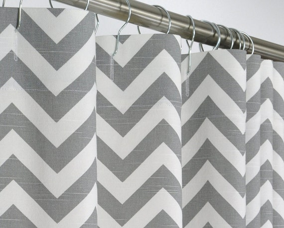 78 Long Gray Chevron Shower Curtain 72 X 78 Long By Pondlilly