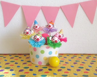 Carnival Clown Cupcake Toppers/Picks/Cake Decorations