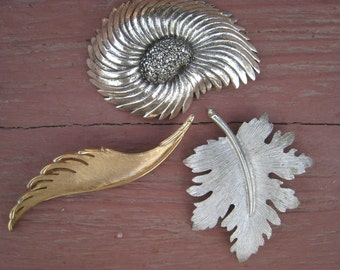 Three VIntage Leaf Feather Shaped Brooches by Trifari Emmons and Tortolani