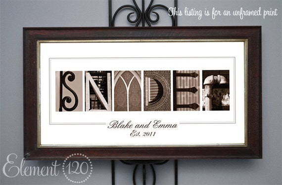 Personalized Wedding Gift - Sepia Alphabet Photography Name Print, Bridal Shower, Anniversary and Wedding Gift, UNFRAMED 10x20 Print
