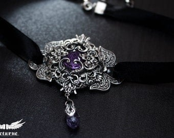 Elegant Black Choker Necklace - Purple Crystal Choker - Victorian Gothic Jewelry