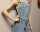 Vintage 80s  Denim Shortalls/Overalls Shorts - Sz Medium