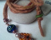 Ancient Trade Route Glass Amber & Flourite Pendant Hand Felted Cord