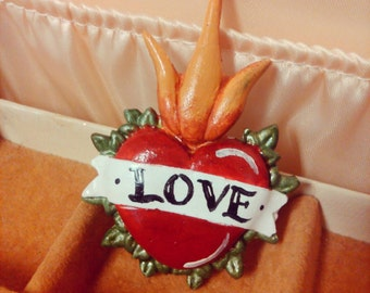 Sacred heart refrigerator magnet, LOVE magnet, rockabilly, day of the dead, tattoo, wedding favor