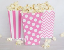Pink Treat Boxes popcorn boxes chevron polka dot  stripe printed party favor box candy buffet treat box (12 count) birthday shower wedding