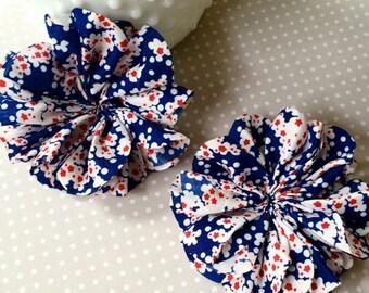 "2 pcs - Red White & Blue Floral Fabric Flowers 3.5""  Lotus Leaf  ruffle Chiffon Fabric hair Flowers headband flowers"