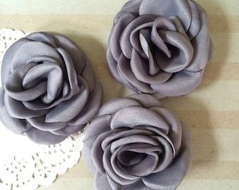 "Gray Fabric Flowers - Small 2.25"" - 5.5cm Grey Soft Satin Rose flowers wedding embellishment baby headband applique wholesale flower Heather"