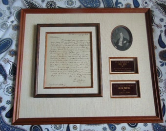 Framed Eli Whitney Letter to Brother Josiah in 1809, Cotton , American Museum Historical Documents Certified. On Sale!