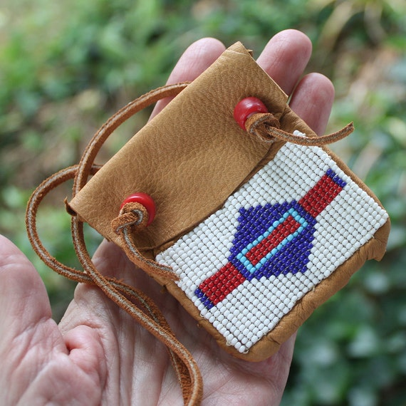 Beaded Medicine Bag - Loom Beaded Band - Soft Brown Leather, medicine pouch, amulet bag, stash bag, festival necklace, ethnic