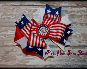 Patriotic Boutique Hair bow, Red and white stripes and blue stars Patriotic Hair Bow perfect for the 4th of july