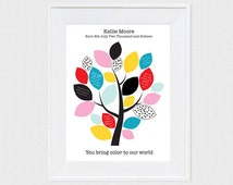 bold baby shower signature guest book tree - printable file - colourful christening personalised baby wall art baby dedication gift girl boy