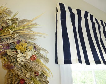 Navy Blue Stripes Unlined Curtain Valance - Blue Valance - Blue Window Curtain - Striped Navy Blue Valance 52 x 16 with Ruffled Top