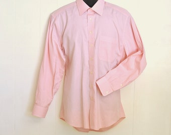 Men's Dress Shirt Pink Long Sleeve L/S Button Up Broadcloth By Hickey-Freeman Medium 15 1/2 / 34 Oxford Vintage Menswear Fashion