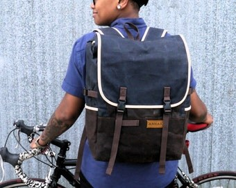 Blue / Roll top backpack, waxed canvas cycling backpack