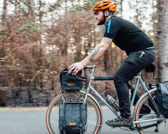 Black Highlands panniers // front touring panniers,  small commuter panniers